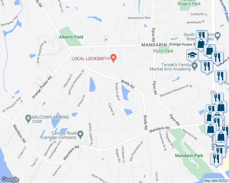 map of restaurants, bars, coffee shops, grocery stores, and more near 12420 Brady Place Boulevard in Jacksonville