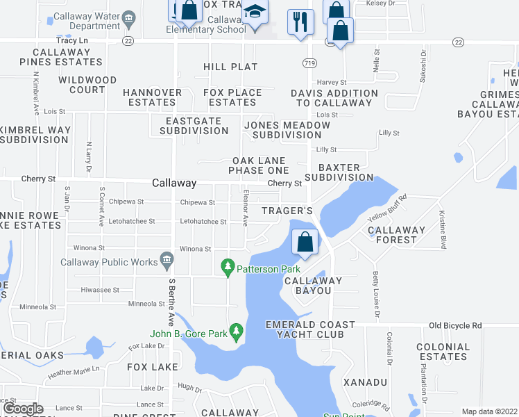 map of restaurants, bars, coffee shops, grocery stores, and more near 7124 Chipewa Street in Panama City
