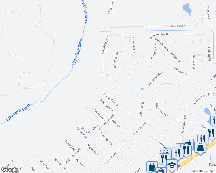 map of restaurants, bars, coffee shops, grocery stores, and more near 2766 Pebbleridge Court in Orange Park