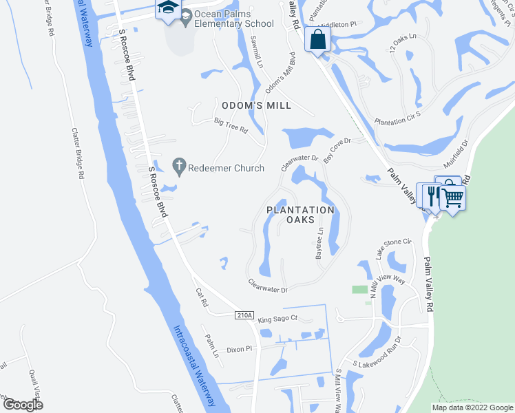 map of restaurants, bars, coffee shops, grocery stores, and more near 268 Clearwater Drive in Ponte Vedra Beach