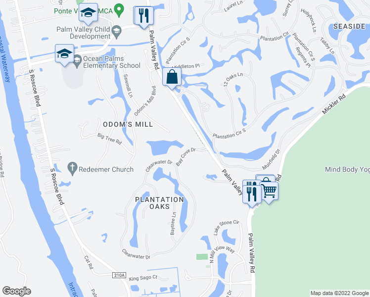 map of restaurants, bars, coffee shops, grocery stores, and more near 150 Bay Cove Drive in Ponte Vedra