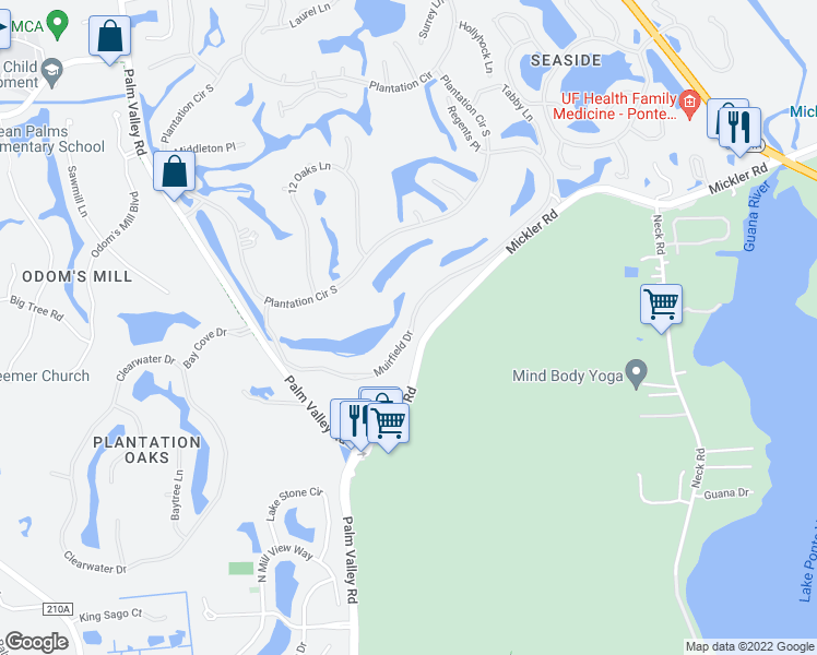 map of restaurants, bars, coffee shops, grocery stores, and more near 21 Sailfish Drive in Ponte Vedra Beach