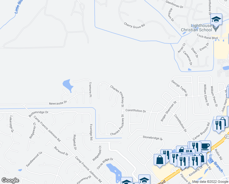 map of restaurants, bars, coffee shops, grocery stores, and more near 887-897 Joseph Hewes Court in Orange Park