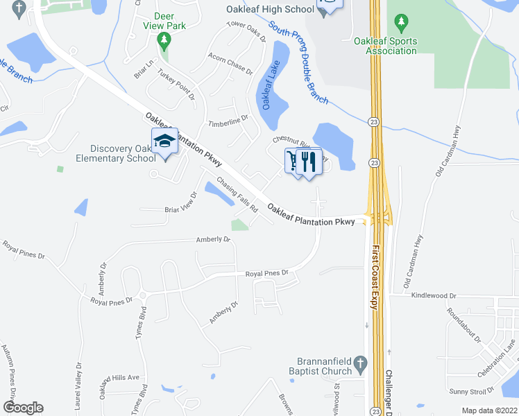 map of restaurants, bars, coffee shops, grocery stores, and more near 3748 Chasing Falls Road in Orange Park