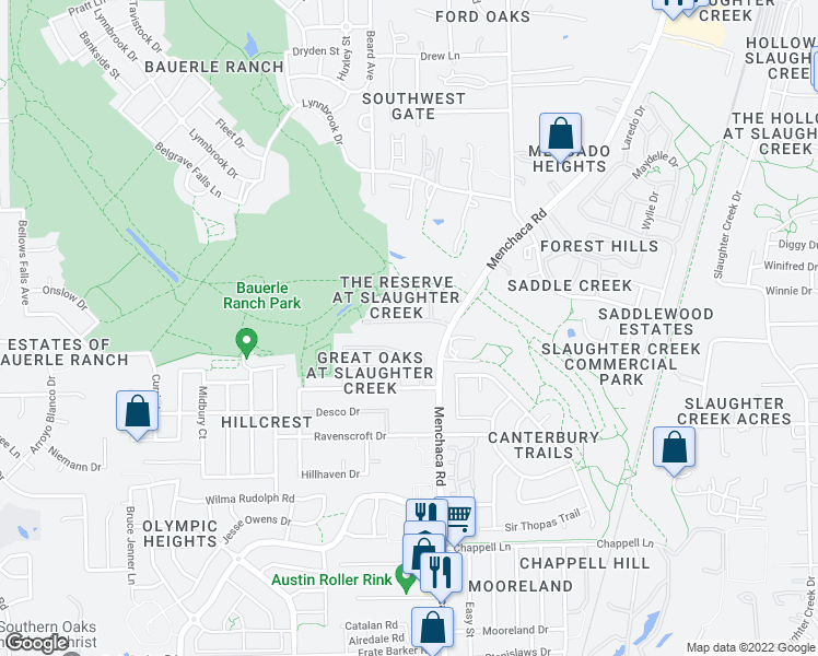 map of restaurants, bars, coffee shops, grocery stores, and more near 2101 Boyds Way in Austin