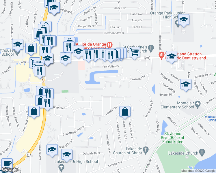 map of restaurants, bars, coffee shops, grocery stores, and more near 2252-2254 Foxwood Drive in Orange Park