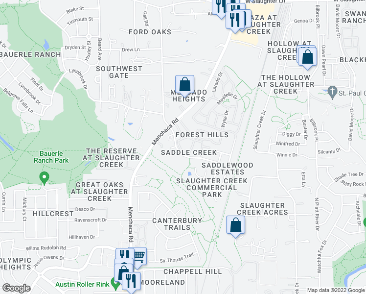 map of restaurants, bars, coffee shops, grocery stores, and more near 10801 Old Manchaca Road in Austin