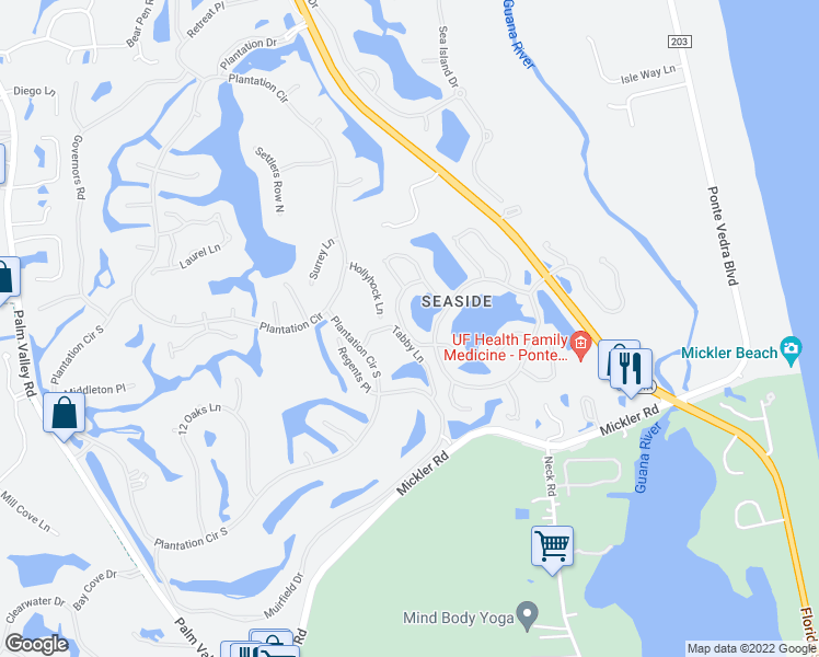 map of restaurants, bars, coffee shops, grocery stores, and more near 156 Crosstide Circle in Ponte Vedra