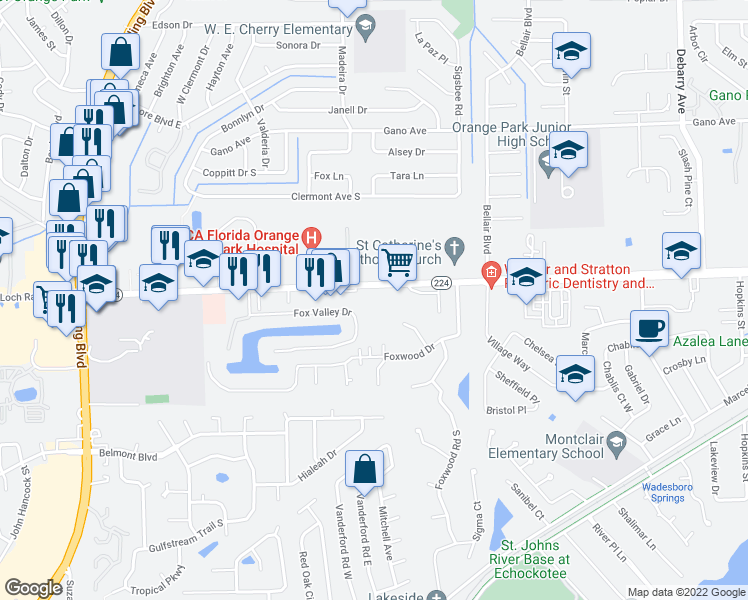 map of restaurants, bars, coffee shops, grocery stores, and more near 1800 Kingsley Avenue in Orange Park
