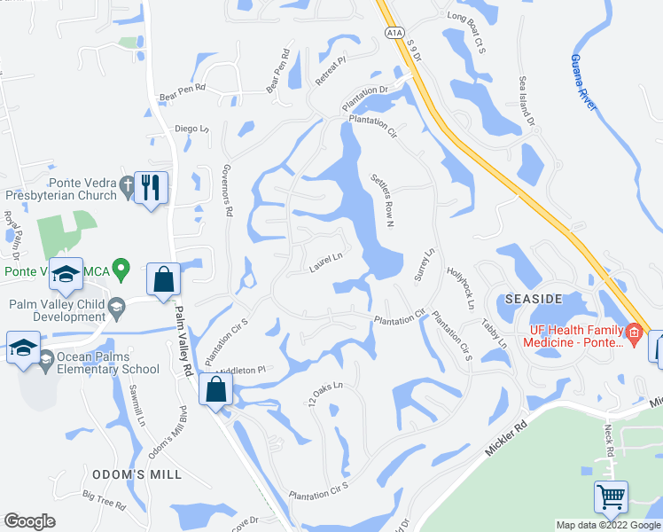 map of restaurants, bars, coffee shops, grocery stores, and more near 192 Laurel Lane in Ponte Vedra
