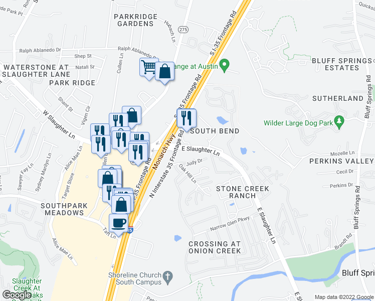 map of restaurants, bars, coffee shops, grocery stores, and more near 125 West Slaughter Lane in Austin
