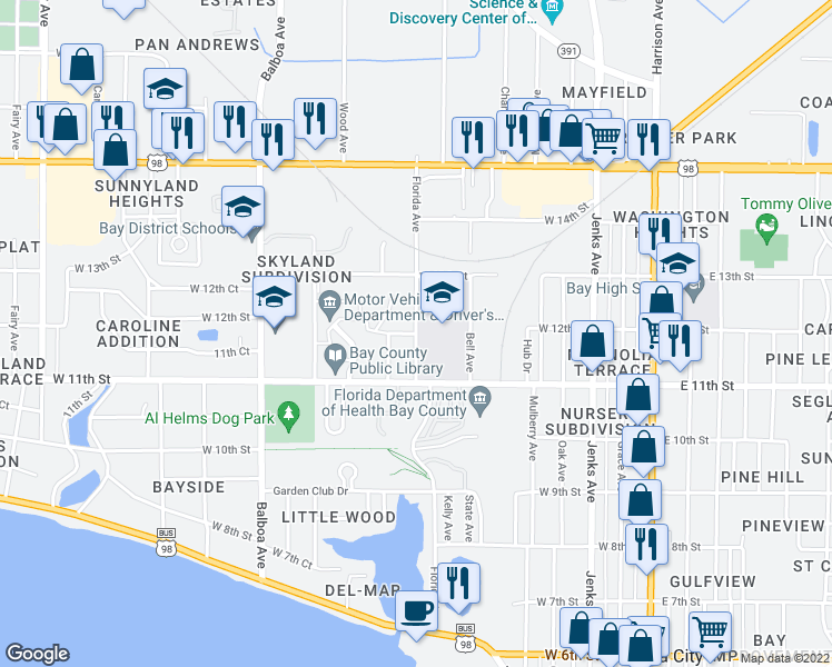 map of restaurants, bars, coffee shops, grocery stores, and more near 1200 Florida Avenue in Panama City