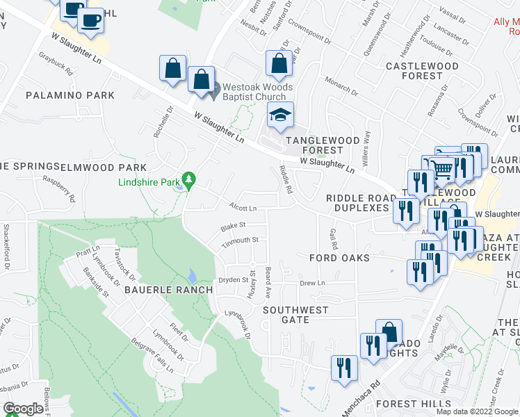 map of restaurants, bars, coffee shops, grocery stores, and more near Alcott Lane in Austin