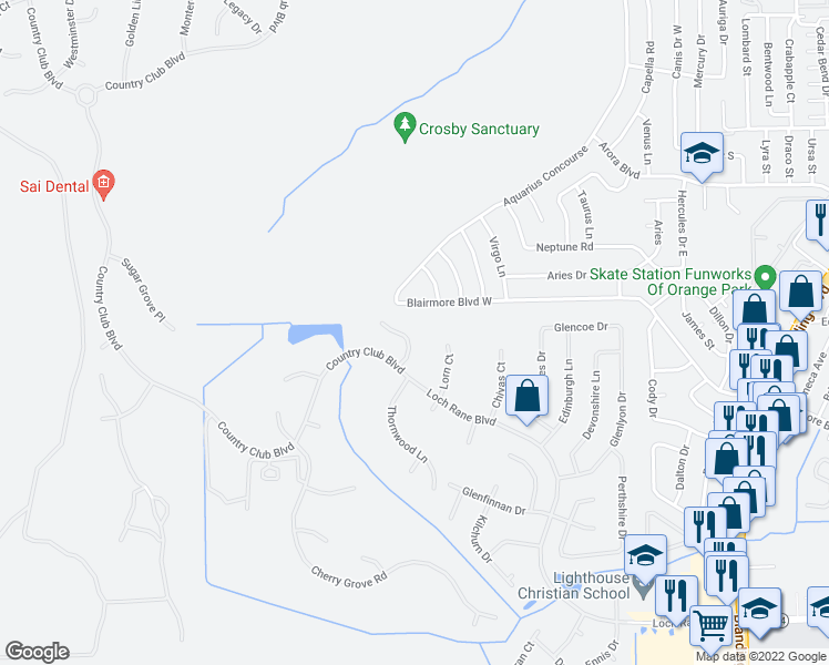 map of restaurants, bars, coffee shops, grocery stores, and more near 553 Feather Oaks Court in Orange Park