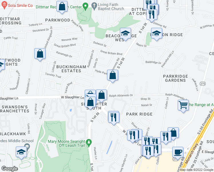 map of restaurants, bars, coffee shops, grocery stores, and more near 8800 South 1st Street in Austin