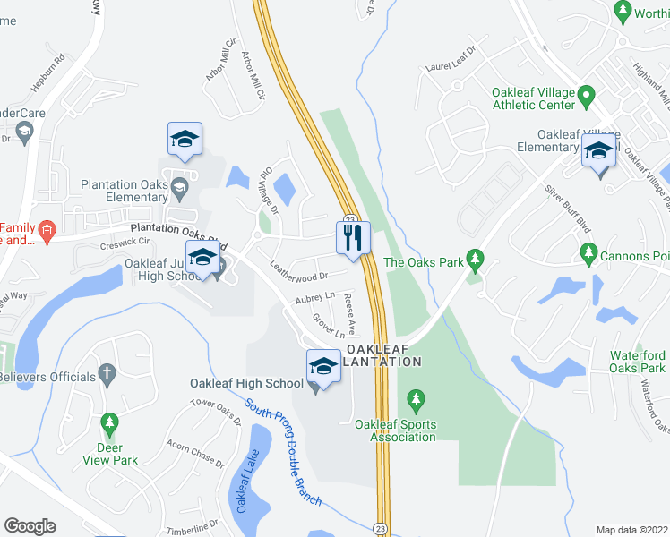 map of restaurants, bars, coffee shops, grocery stores, and more near 3920 Leatherwood Drive in Orange Park