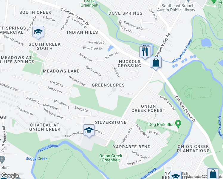 map of restaurants, bars, coffee shops, grocery stores, and more near 4901 Misty Slope Lane in Austin