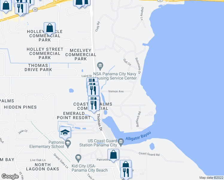 map of restaurants, bars, coffee shops, grocery stores, and more near 101 Vernon Avenue in Panama City Beach