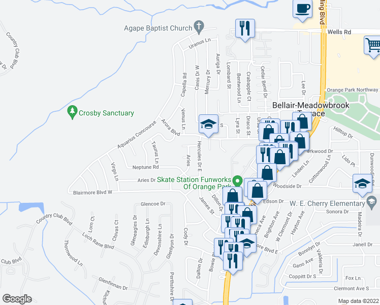 map of restaurants, bars, coffee shops, grocery stores, and more near 114 Aries Drive in Orange Park
