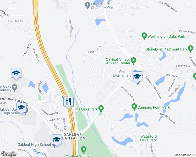 map of restaurants, bars, coffee shops, grocery stores, and more near 701 Skipping Stone Way in Orange Park