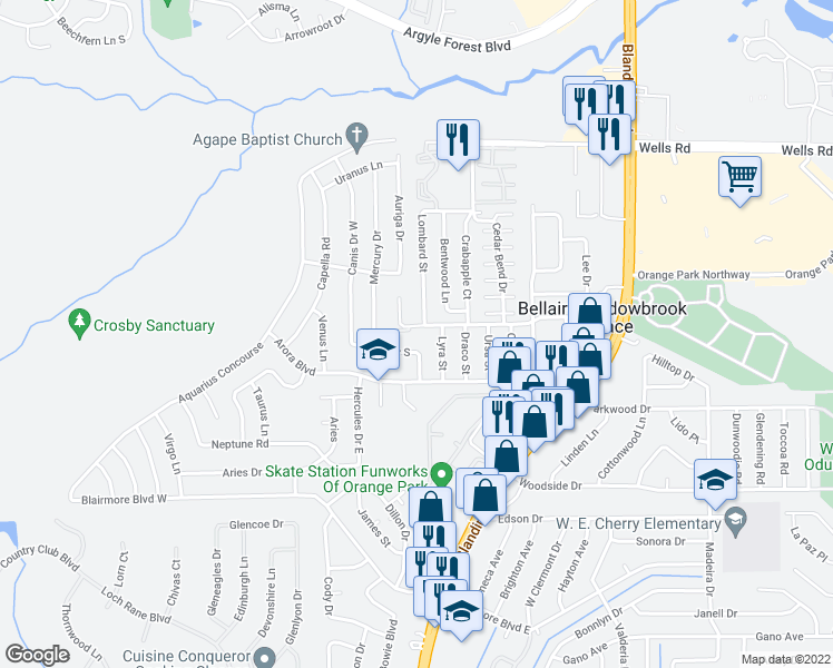 map of restaurants, bars, coffee shops, grocery stores, and more near 155 Lyra Street in Orange Park