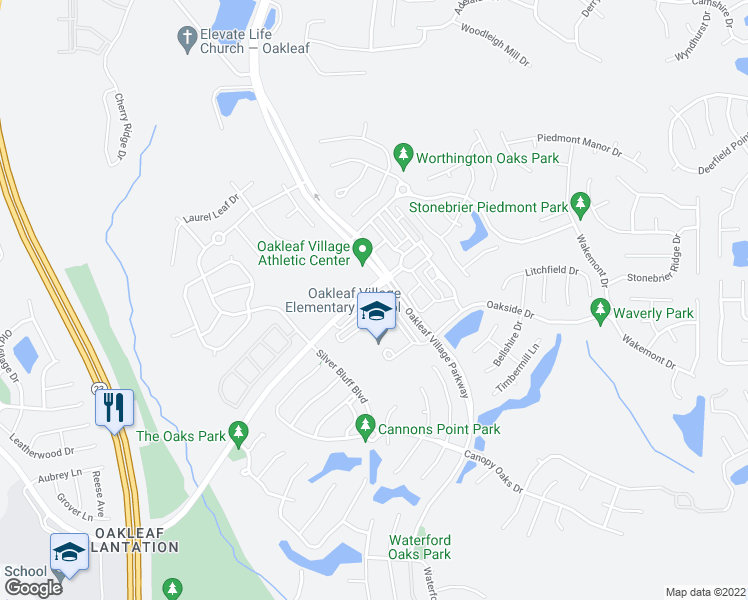 map of restaurants, bars, coffee shops, grocery stores, and more near 3756 Plantation Oaks Boulevard in Orange Park