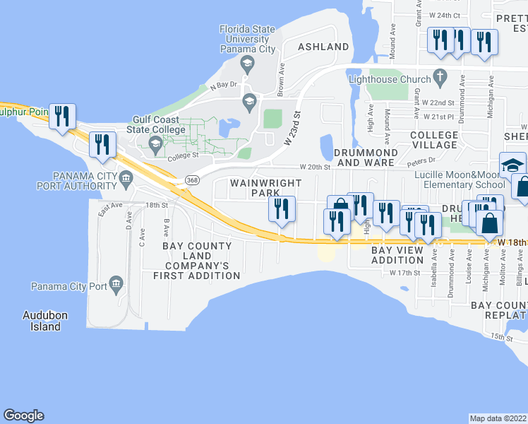 map of restaurants, bars, coffee shops, grocery stores, and more near 4810 W Hwy 98 in Panama City