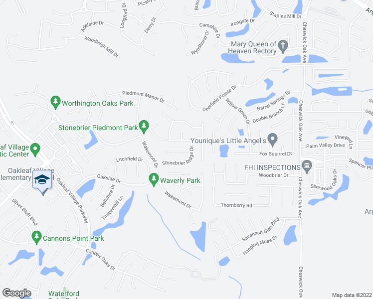 map of restaurants, bars, coffee shops, grocery stores, and more near 3016 Stonewood Way in Orange Park