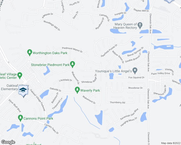 map of restaurants, bars, coffee shops, grocery stores, and more near 2921 Thorncrest Drive in Orange Park