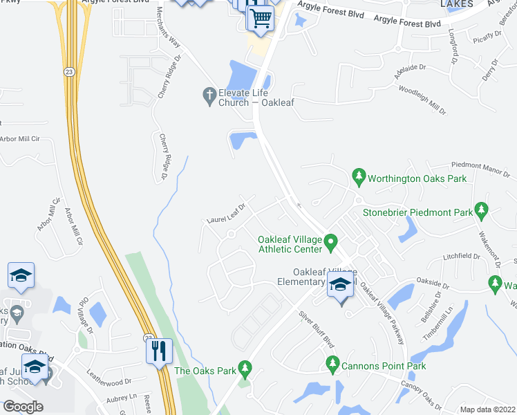 map of restaurants, bars, coffee shops, grocery stores, and more near 3532 Silver Bluff Boulevard in Orange Park