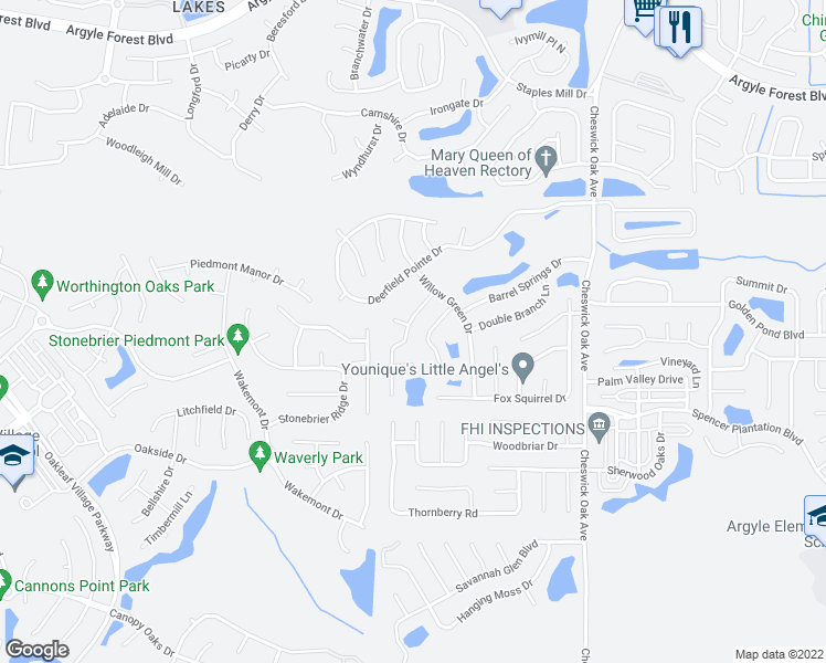 map of restaurants, bars, coffee shops, grocery stores, and more near 428 Federal Hill Road in Orange Park