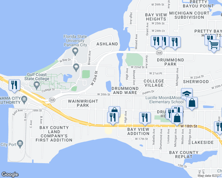 map of restaurants, bars, coffee shops, grocery stores, and more near 4324 West 20th Street in Panama City