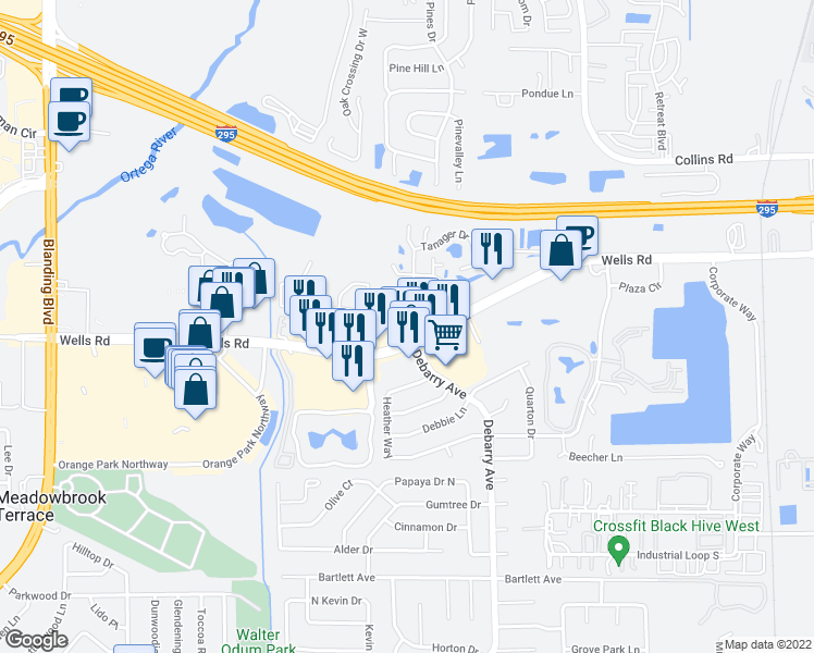 map of restaurants, bars, coffee shops, grocery stores, and more near 85 Debarry Avenue in Orange Park