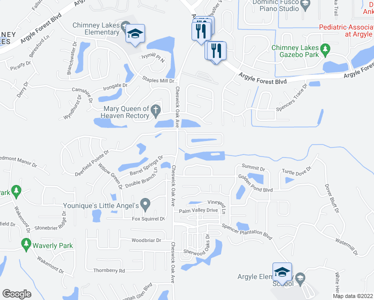 map of restaurants, bars, coffee shops, grocery stores, and more near 3067 Waters View Circle in Orange Park