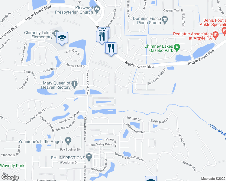 map of restaurants, bars, coffee shops, grocery stores, and more near 8608 Bandera Circle South in Jacksonville