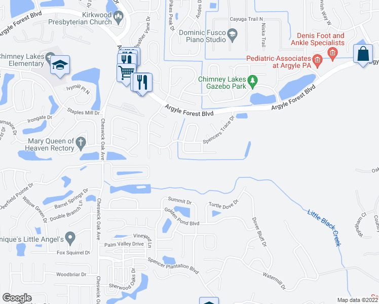 map of restaurants, bars, coffee shops, grocery stores, and more near 8340 Sand Point Drive South in Jacksonville