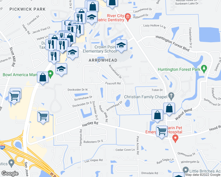 map of restaurants, bars, coffee shops, grocery stores, and more near 10324 Arrow Forest Court in Jacksonville