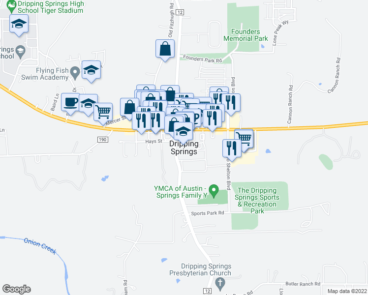 map of restaurants, bars, coffee shops, grocery stores, and more near in Dripping Springs