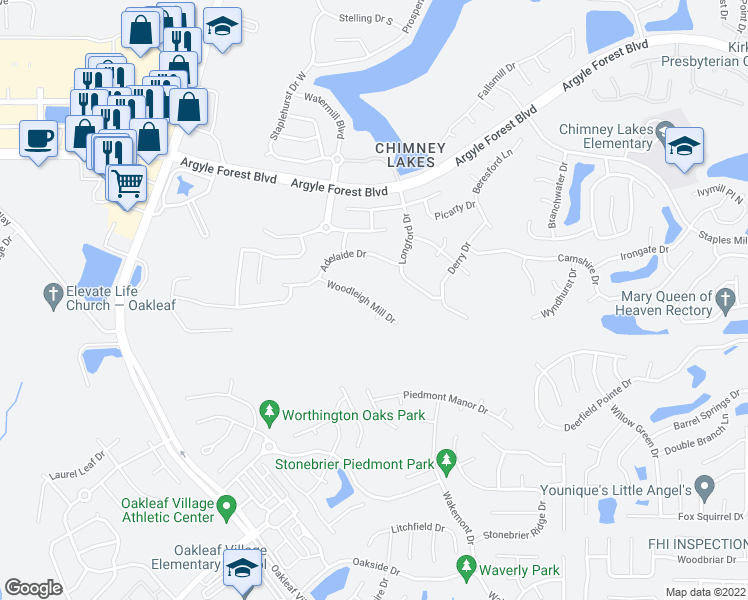 map of restaurants, bars, coffee shops, grocery stores, and more near 9431 Woodleigh Mill Drive in Jacksonville