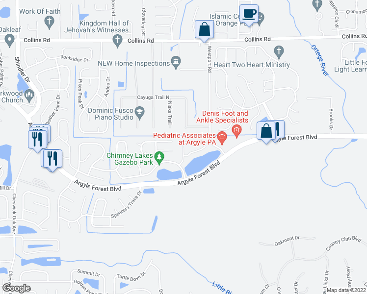 map of restaurants, bars, coffee shops, grocery stores, and more near 8050 Copperfield Circle South in Jacksonville