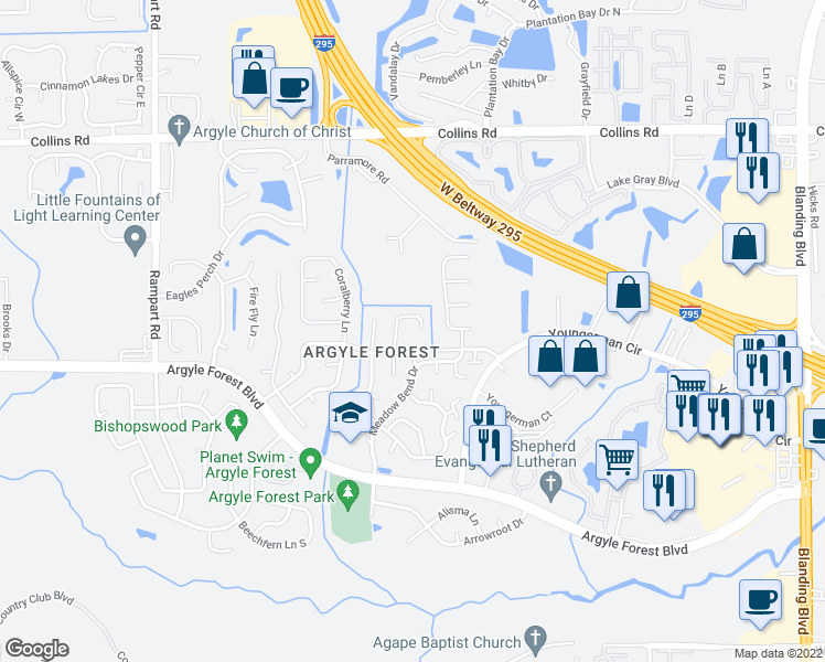 map of restaurants, bars, coffee shops, grocery stores, and more near 8147 Weybridge Drive in Jacksonville