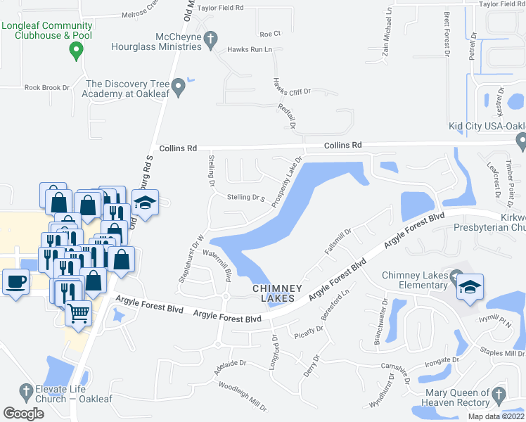 map of restaurants, bars, coffee shops, grocery stores, and more near 9355 Prosperity Lake Drive in Jacksonville