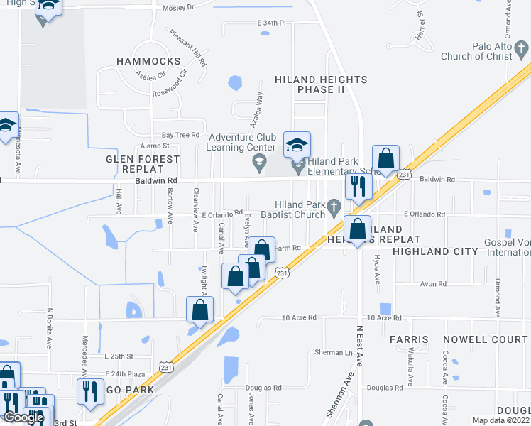 map of restaurants, bars, coffee shops, grocery stores, and more near 2344 Orlando Rd in Panama City