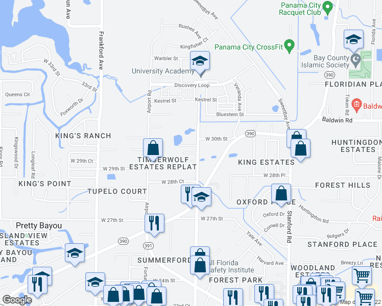 map of restaurants, bars, coffee shops, grocery stores, and more near 1418 29th Court in Panama City