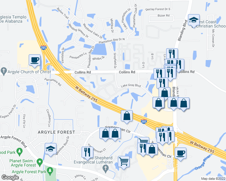 map of restaurants, bars, coffee shops, grocery stores, and more near 6500 Lake Gray Boulevard in Jacksonville