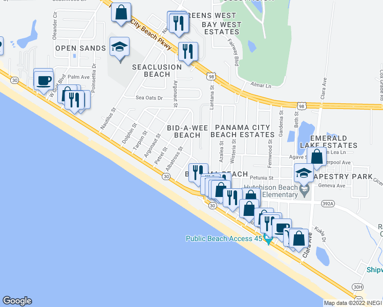 map of restaurants, bars, coffee shops, grocery stores, and more near Crane Street in P C BEACH