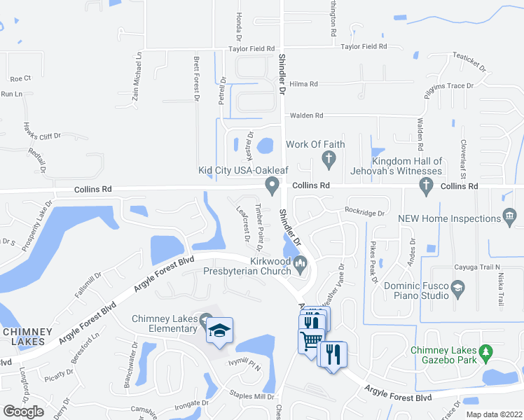 map of restaurants, bars, coffee shops, grocery stores, and more near 8046 Timber Point Drive in Jacksonville