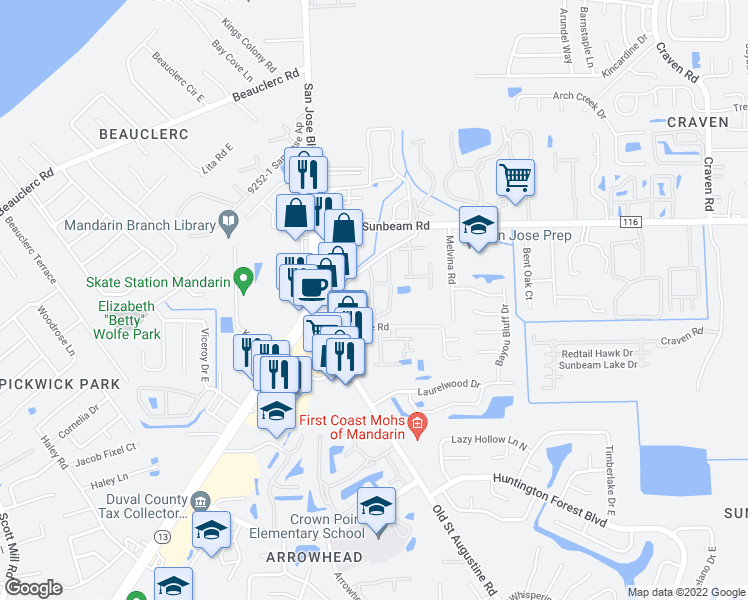 map of restaurants, bars, coffee shops, grocery stores, and more near 3857 Pritmore Road East in Jacksonville