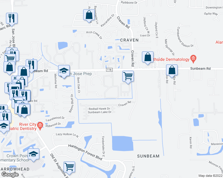 map of restaurants, bars, coffee shops, grocery stores, and more near 4320 Sunbeam Road in Jacksonville