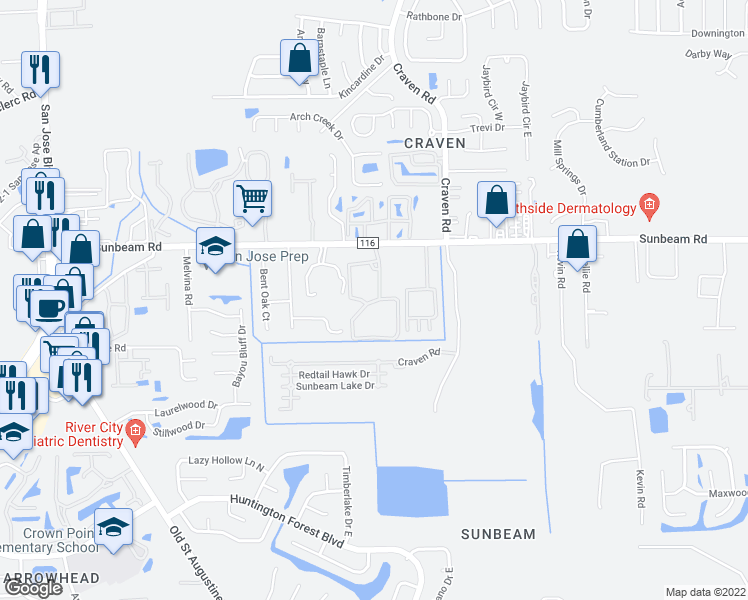 map of restaurants, bars, coffee shops, grocery stores, and more near 9556 Armelle Way in Jacksonville